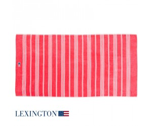 Lexington Strandtuch Striped Velour rosa/ weiß