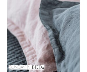 Sunday in Bed Bettwäsche Washed Linen grau & powder (2 Farben)