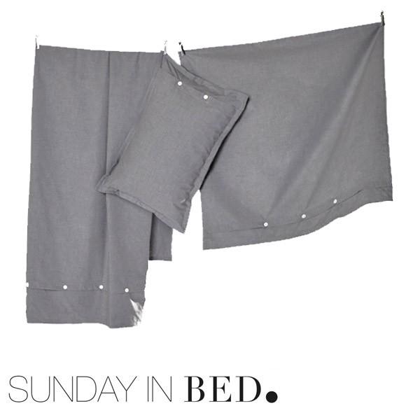sunday in bed bettw sche flanell grau. Black Bedroom Furniture Sets. Home Design Ideas