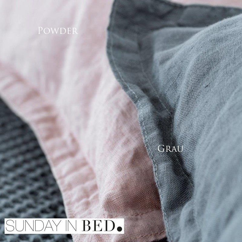 sunday in bed bettw sche washed linen grau powder 2 farben. Black Bedroom Furniture Sets. Home Design Ideas